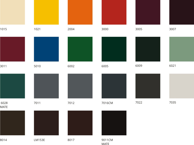 Carta standard cortizo industrial perfiles de aluminio for Colores de perfiles de aluminio
