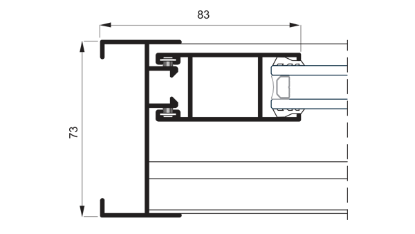 Section system detail 5000 Sliding System