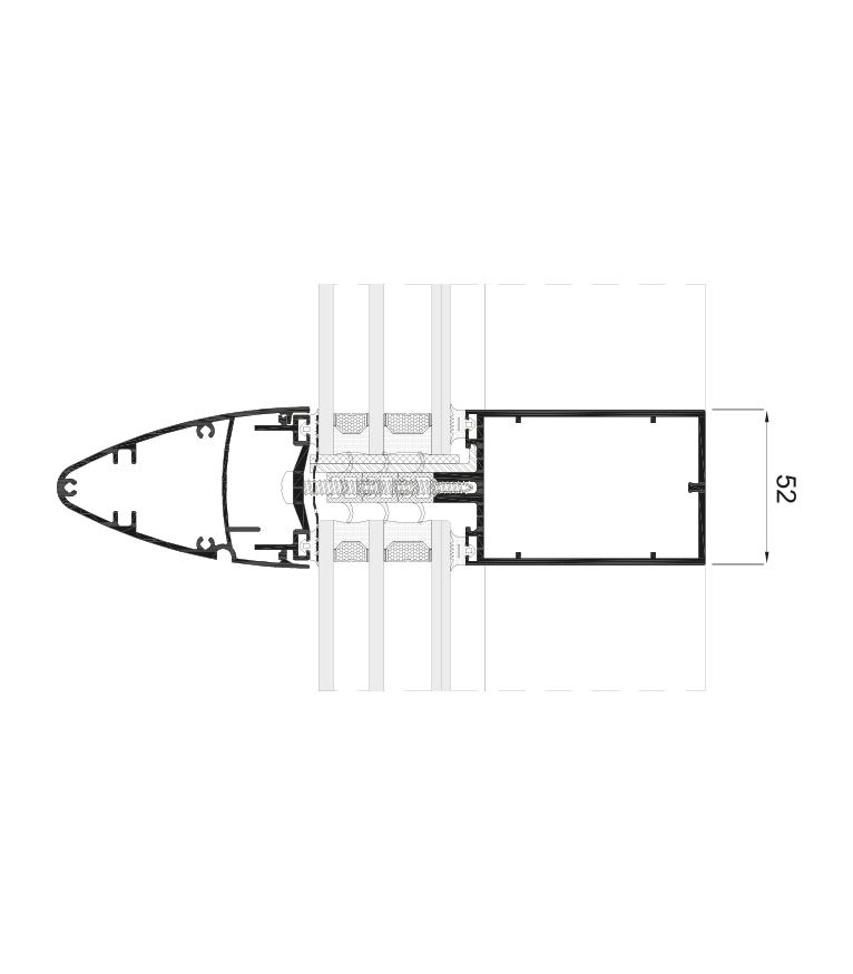 Detalle de la sección del sistema Fachada TPH 52
