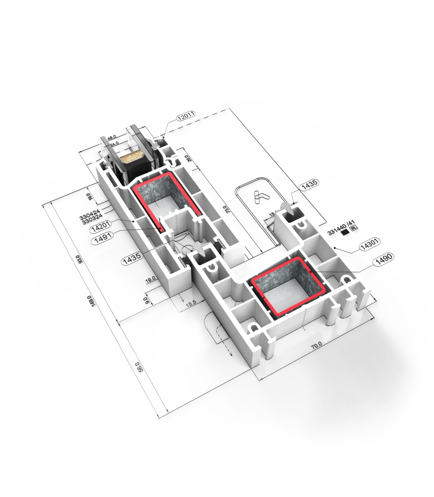 Detalle de la sección del sistema C 70  Corredera - PVC