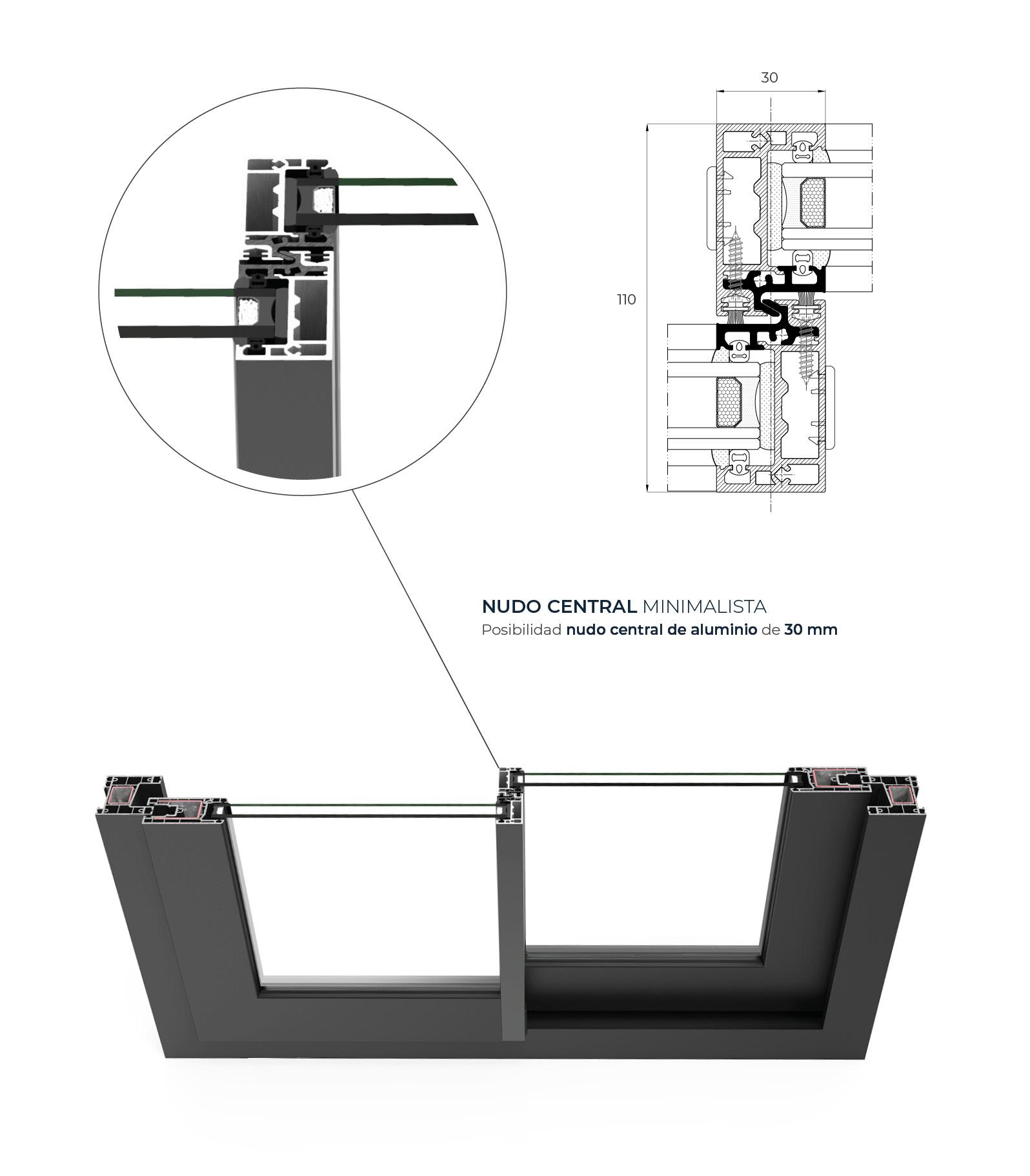 Section system detail C 70  Sliding System - PVC