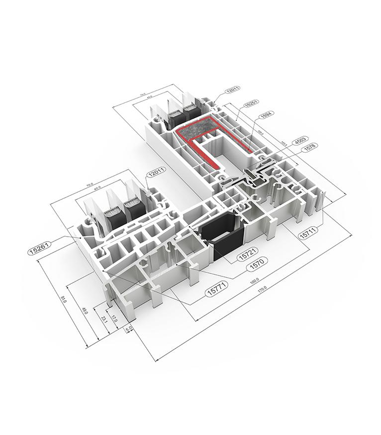 Detalle de la sección del sistema E 170 Corredera Elevable - PVC