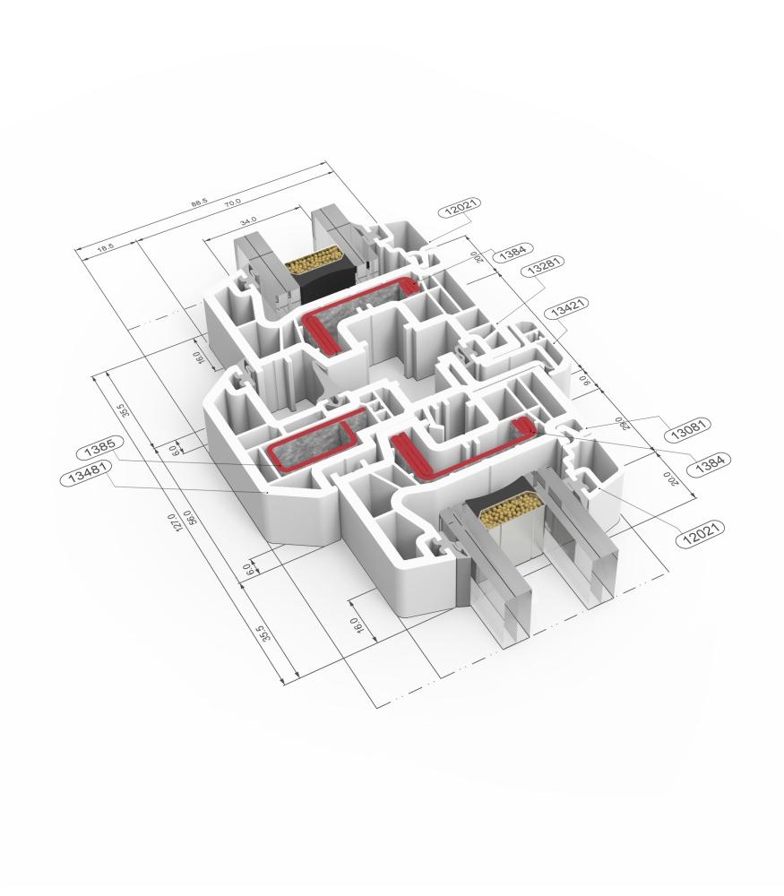Detalle de la sección del sistema A 70 Triple junta - PVC