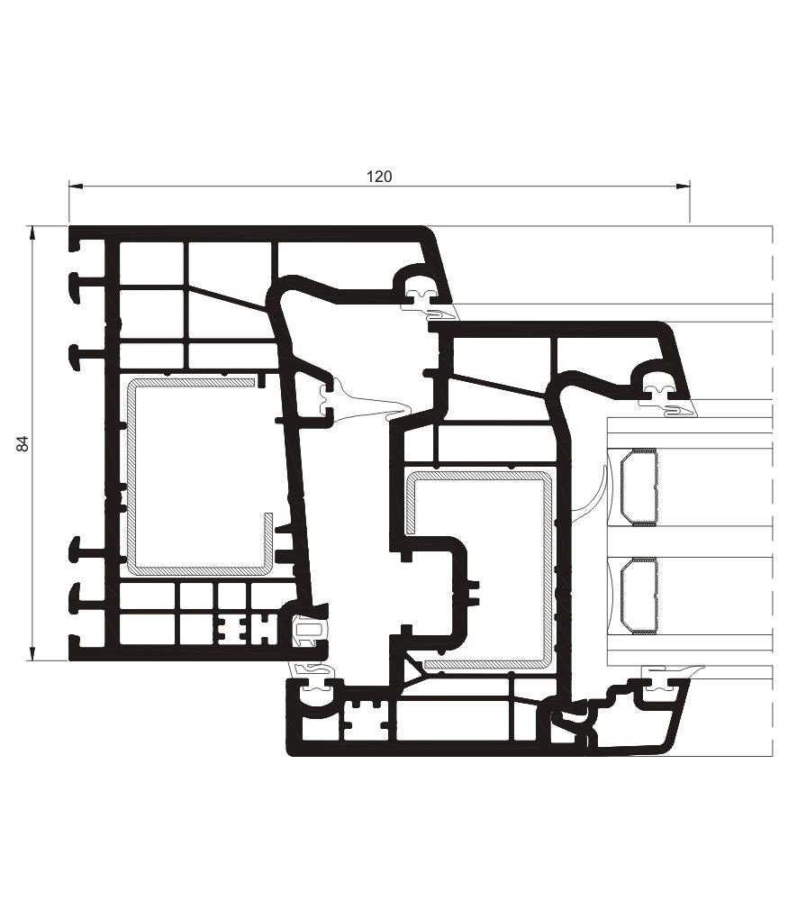 Detalle de la sección del sistema A 84 Abisagrada - PVC