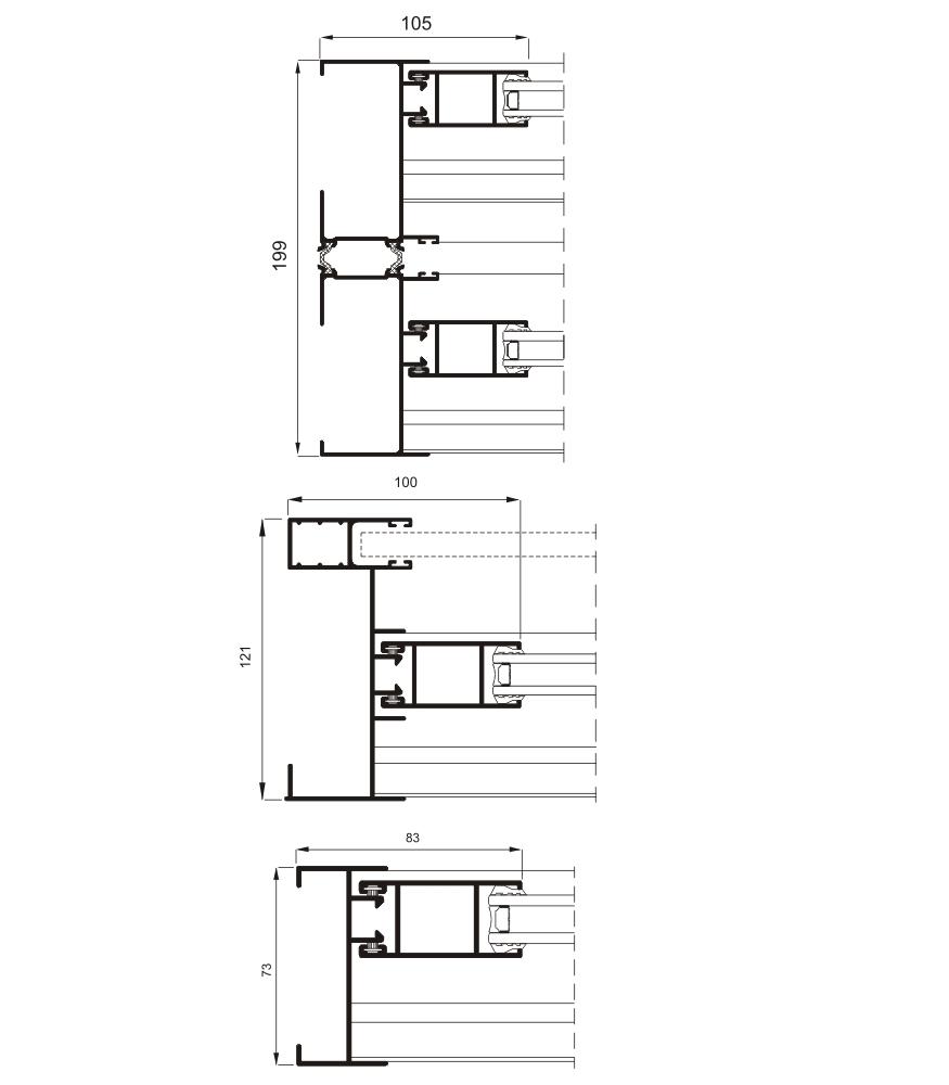 Detalle de la sección del sistema 5000 Corredera Doble RPT